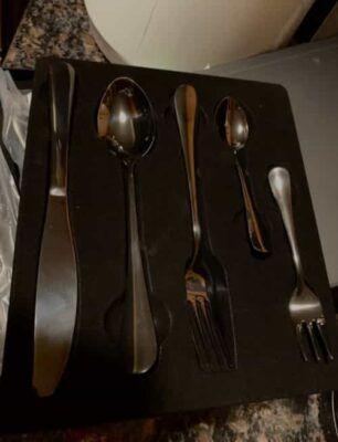 Enduell 20 Piece Stainless Steel Cutlery Set – Elegant Flatware For Home – Modern Design Matte Black Forks, Knives and Spoons – Cutlery Set Service for 4 – Set of 8 Fork4